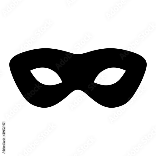 Cuadros en Lienzo  Simple, black mask silhouette illustration. Isolated on white