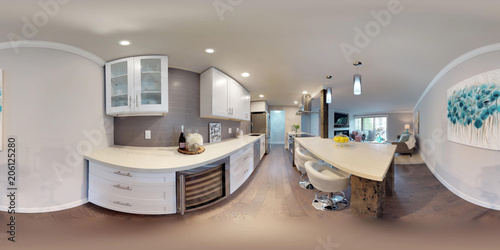 Tela  3d illustration spherical 360 degrees, a seamless panorama of kitchen