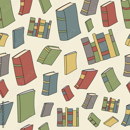 bezszwowy-tlo-roznorodne-ksiazki-w-asortowanych-rocznikow-kolorach