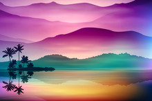 Colorful Background With Sea A...