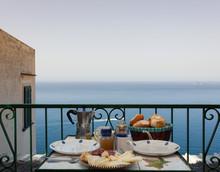 Full Breakfast On The Balcony With A Beautiful, Scenic Sea View To The Italian Amalfi Coast