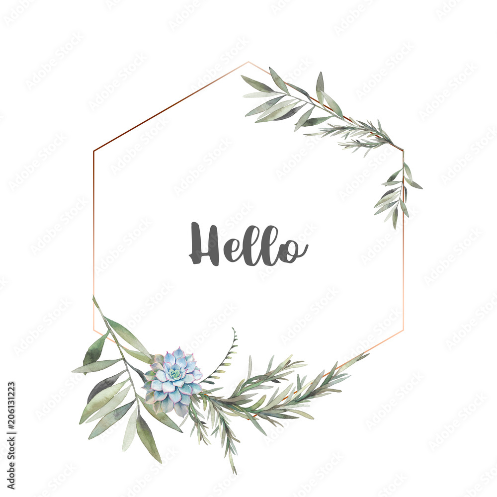 Fototapety, obrazy: Watercolor modern greenery frame. Hand drawn floral label design with succulent, green leaves, eucalyptus, rosemary. Greeting or wedding template isolated on white background.