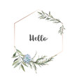 Leinwandbild Motiv Watercolor modern greenery frame. Hand drawn floral label design with succulent, green leaves, eucalyptus, rosemary. Greeting or wedding template isolated on white background.