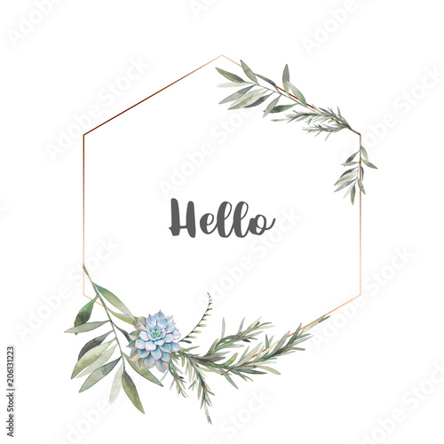 Fototapeta Watercolor modern greenery frame. Hand drawn floral label design with succulent, green leaves, eucalyptus, rosemary. Greeting or wedding template isolated on white background. obraz