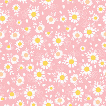 Vintage Pink Daisies Ditsy Seamless Pattern. Great For Summer Vintage Fabric, Scrapbooking, Wallpaper, Giftwrap. Suraface Pattern Design.