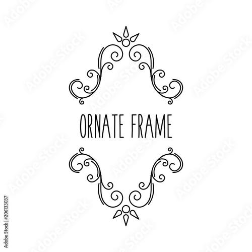 Ornate frame. Calligraphic swirls, flourish decor. Filigree pattern, Scroll design element.
