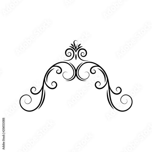 Semi Oval Flourish Swirl Frame Decorative Page Border Filigree Divider Calligraphy Design
