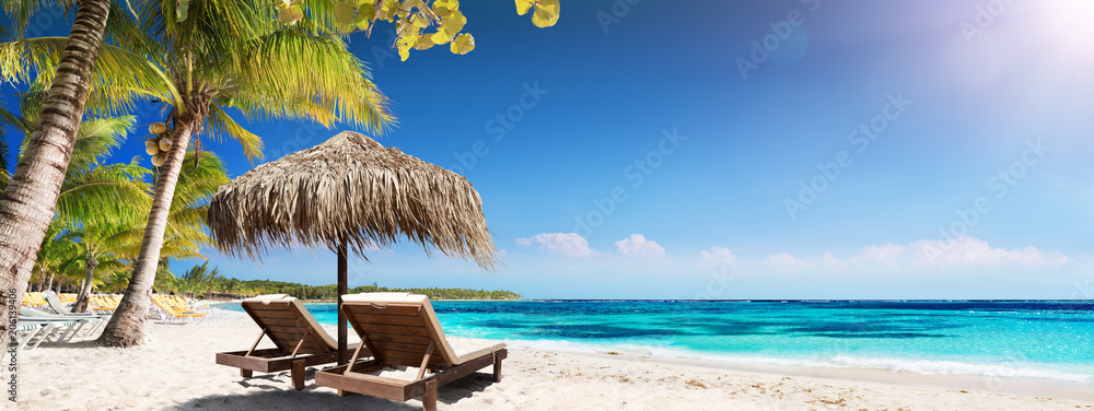 Fototapety, obrazy: Caribbean Palm Beach With Wooden Chairs And Straw Umbrella - Idyllic Island