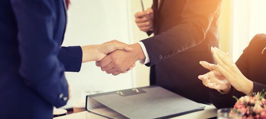 Business partnership marketing meeting concept. Image businessmans handshake. Successful businessmen handshaking after good deal.vintage color, Discussing Together Startup Idea.Working Online Project