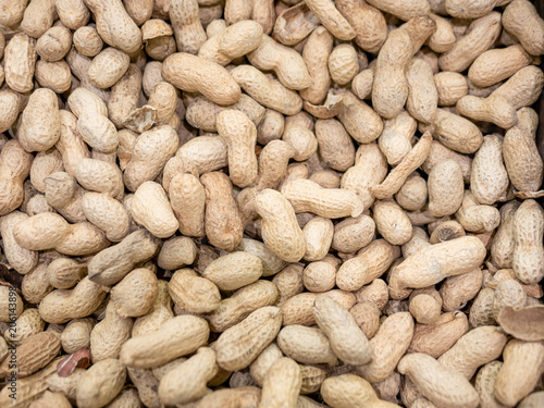 Close up raw peanut in market Canvas Print