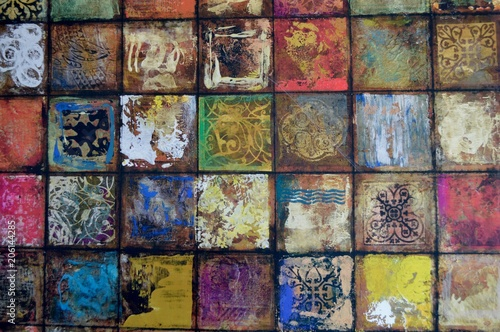 Photo  Spanish Style Tile Background with Colorful Contrasting Colors in Squares Design