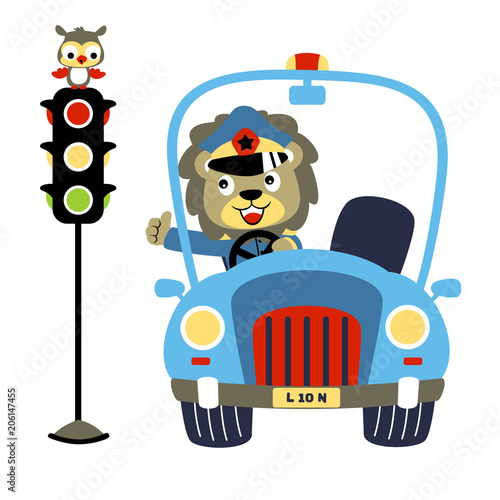Poster de jardin Zoo Lion the traffic cop with a little owl perch on traffic light, vector cartoon illustration
