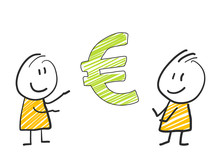 2 Stick Man Standing And Thinking Expression Illustration Yellow Euro