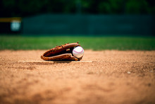 Baseball Glove On Pitcher Mound