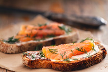 Smoked Salmon Sandwich Appetizer With Toasted Bread