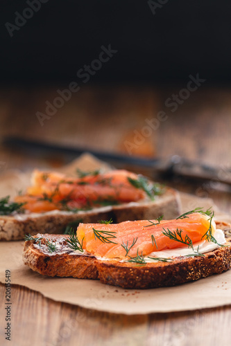 Smoked salmon sandwich appetizer with toasted bread Wallpaper Mural