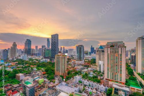 Bangkok metropolis night scene cityscape in Thailand Canvas Print