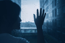 Sad Lonely Depression Mood Woman Silhouette Touch Glass Windows Rainy Dark Day Outside