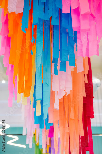 Fototapety, obrazy: multicolored decorated ribbons from paper holiday