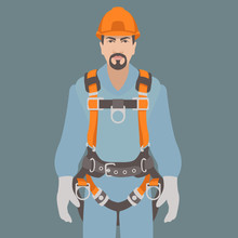 Worker Climbing Safety Belt Ve...