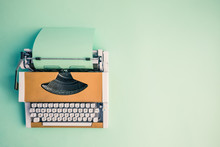 Flat Lay Of Retro Hipster Typewriter Pastel Abstract Concept.