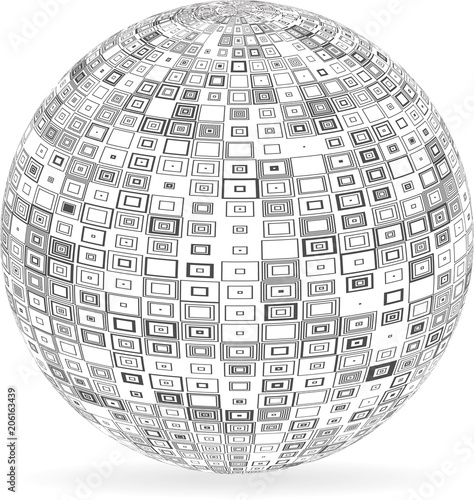 Fotografía  Sphere with squares and rectangles. Vector illustration