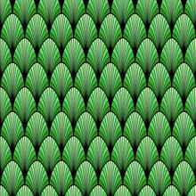 Black And Green Art Deco Palm Leaf Geometric Seamless Pattern, Vector
