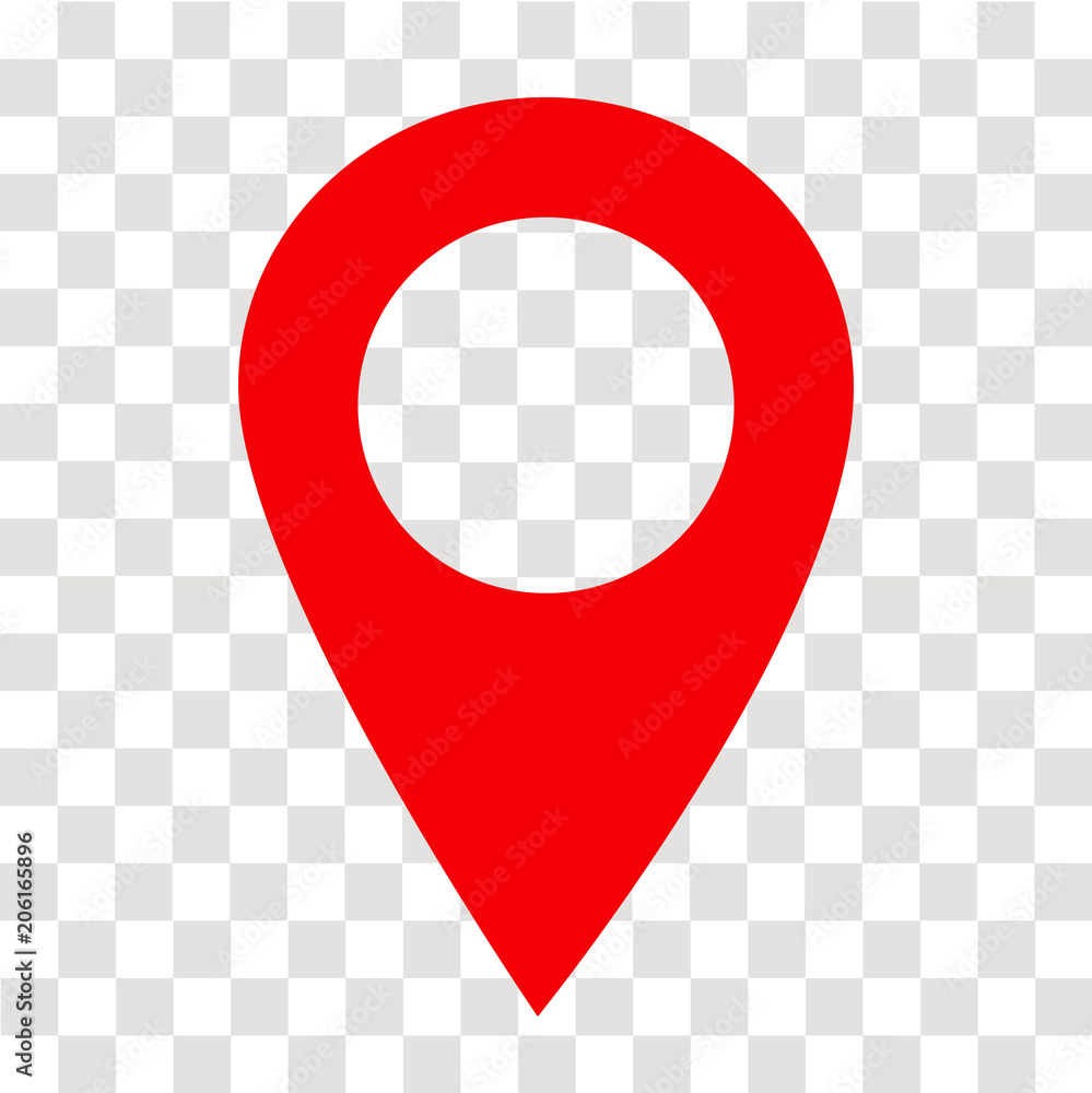 Fototapeta location pin icon on transparent. location pin sign. flat style. red location pin symbol. map pointer symbol. map pin sign.