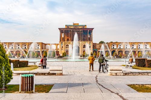 Ali Qapu Palace at Naqsh-e-Jahan Square in Isfahan, Iran. Canvas Print