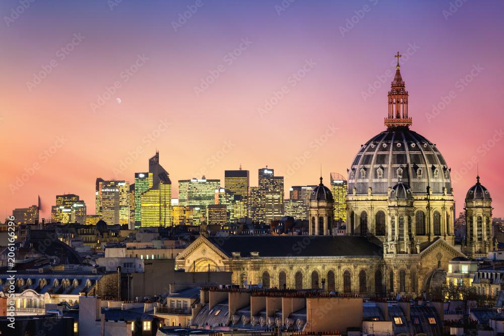 Fototapety, obrazy: Kościół św Augustyna w oddali z drapaczami chmur, biznesowa dzielnica La Defense