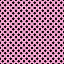 Seamless Pattern. Black Polka Dot On The Pink Background