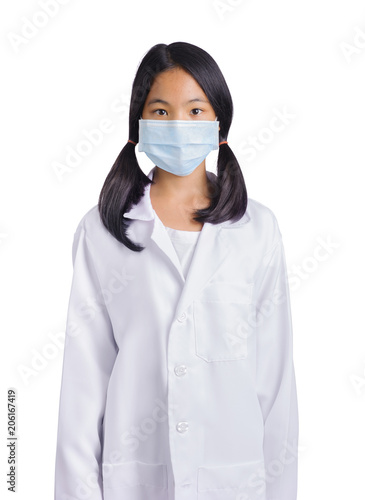 Fotografia  young girl sick with mask and wearing Doctor's suite