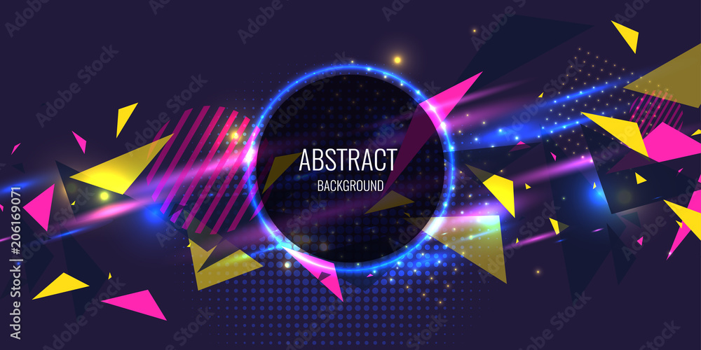 Fototapety, obrazy: Abstract poster for the placement of text and information. Geometric shapes and neon glow against.