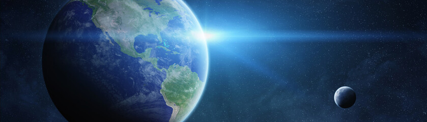 Fototapeta Panoramic view of planet Earth with the moon 3D rendering elements of this image furnished by NASA