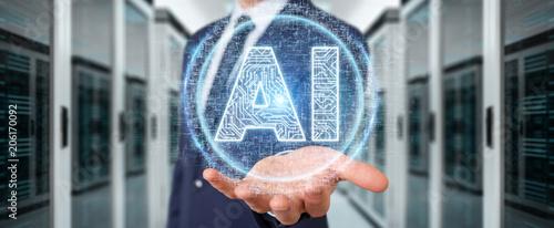 Staande foto Vlees Businessman using digital artificial intelligence icon hologram 3D rendering
