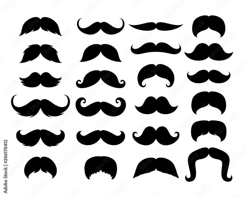 Fototapeta Black Hipster Mustache Icon Set. Vector Illustration isolated on white background.