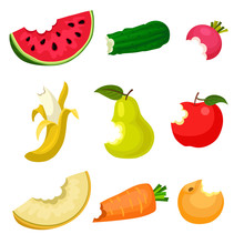 Flat Vector Set Of Bitten Fruits And Vegetables. Natural And Tasty Food. Healthy Nutrition. Design For Poster, Banner Or Product Packaging