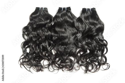 Fotografie, Obraz  Natural wavy black human hair weaves extensions bundels