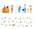 Different people shopping at mall or supermarket. Flat vector illustration.