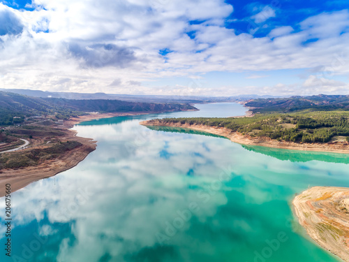 Aerial (drone) view of the El Negratín water reservoir, in Baza, Granada province, also known as the interior sea Wallpaper Mural