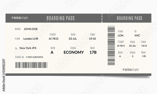 Fotografía  Airplane ticket template with passenger name and destination route