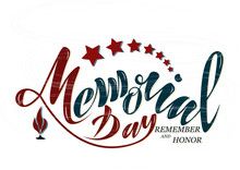 Vector Illustration Happy Memorial Day, Honor And Remember. Handwritten Text With Objects Flag USA, Star And Eternal Flame. For The Greeting Card Of The Banner Of The Poster Of The Stamp For Printing