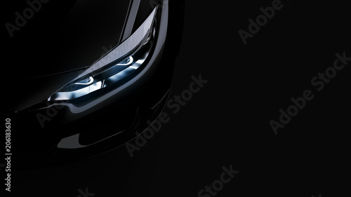 Obraz headlights of black sports car on black background, photorealistic 3d render, generic design, non-branded - fototapety do salonu