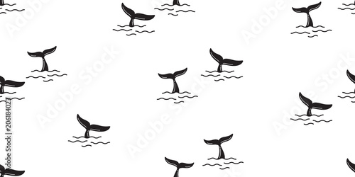 shark fin seamless pattern vector dolphin whale tail ocean background isolated w Canvas Print