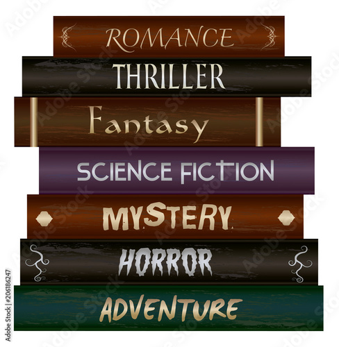 Stack of books- Romance, Thriller, Fantasy, Science Fiction, Mystery, Horror & A Wallpaper Mural