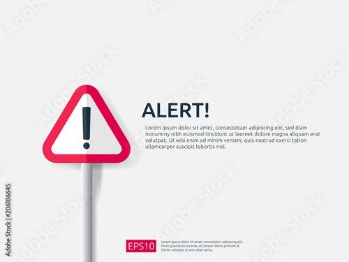 Obraz attention warning alert sign banner with exclamation mark symbol. concept for danger on Internet, technology, VPN Security protection. Background vector illustration. - fototapety do salonu