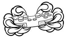 Monster Gamer Claws Holding Ga...