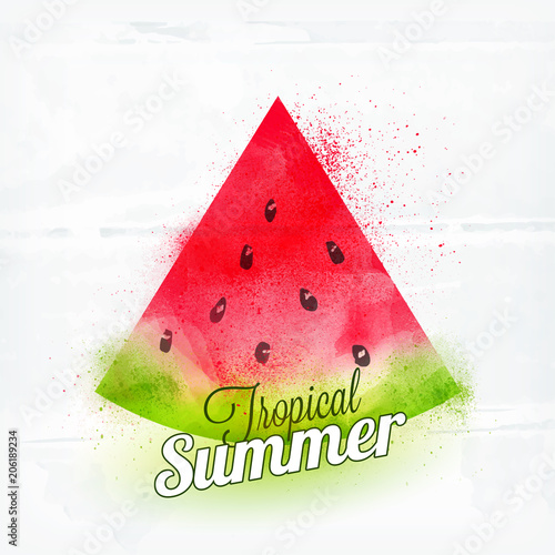 Poster Retro sign Watermelon slice with stylish text Tropical Summer on White Background.