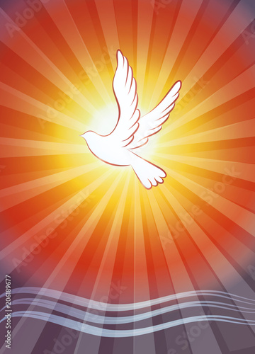 Valokuvatapetti Christian baptism symbol with water waves and dove on sunset background