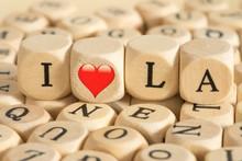 Holzbuchstaben Und Slogan I Lo...